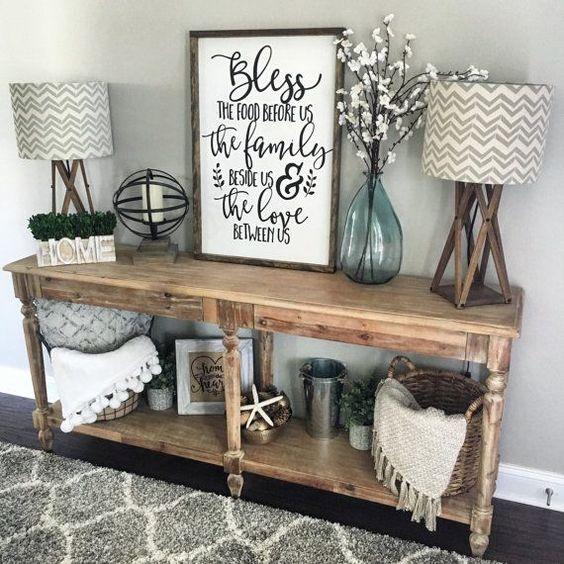 Mueble con Lámparas Rústico