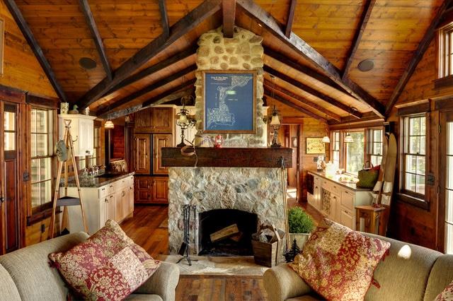 33 chimenea en casa de madera