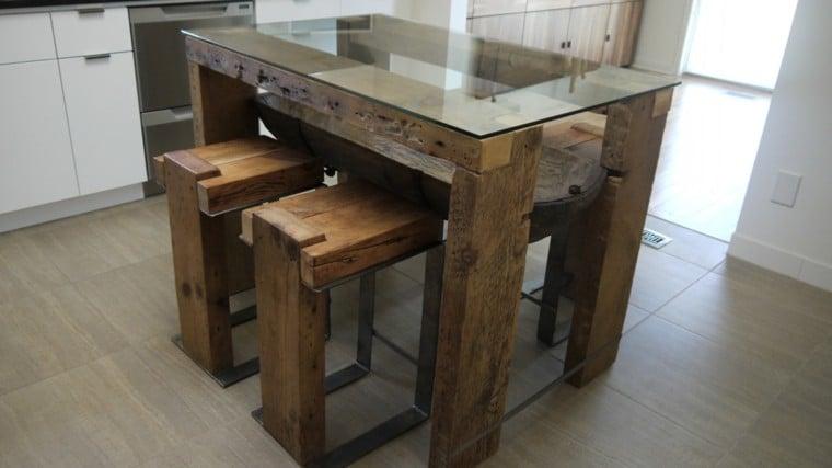 Mesa de Comedor Alta con Vidrio
