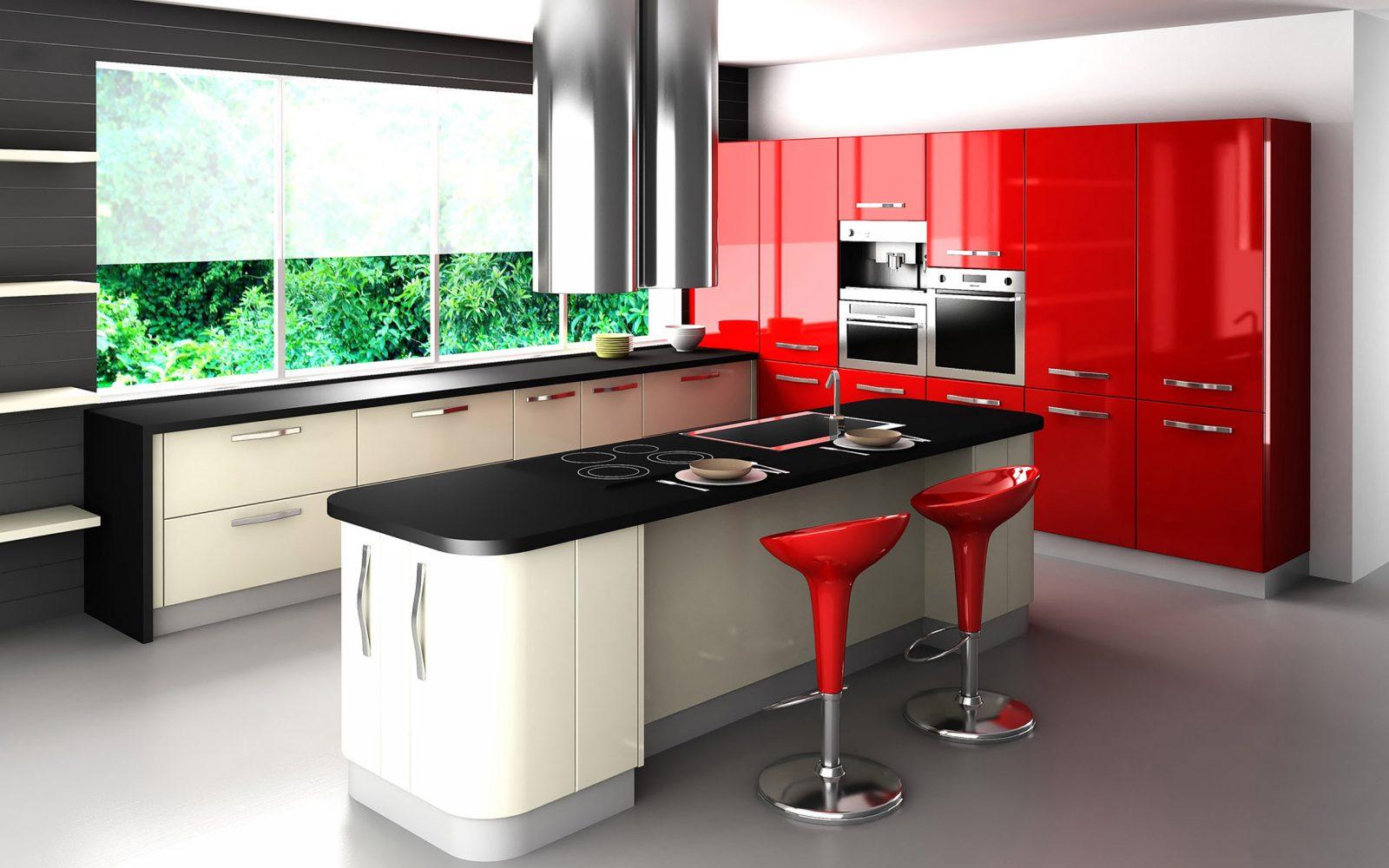 cocina moderna roja