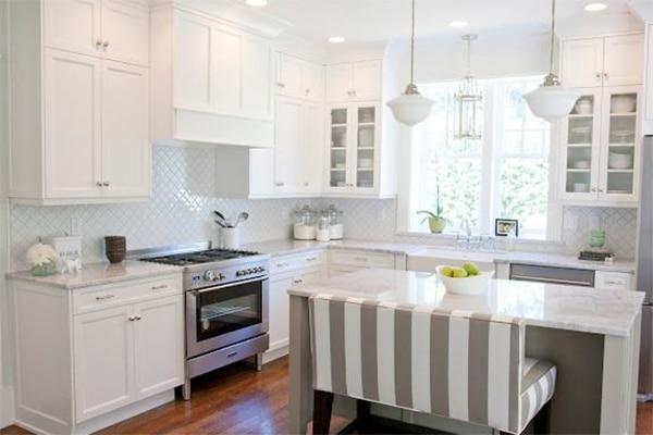 cocina blanca en L