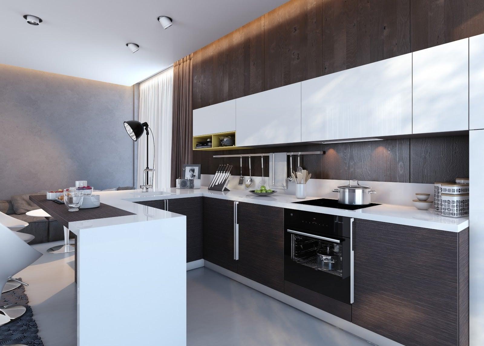 cocina de lujo moderna mediana