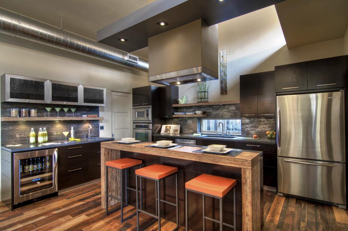 cocina de lujo moderna plata y cafe
