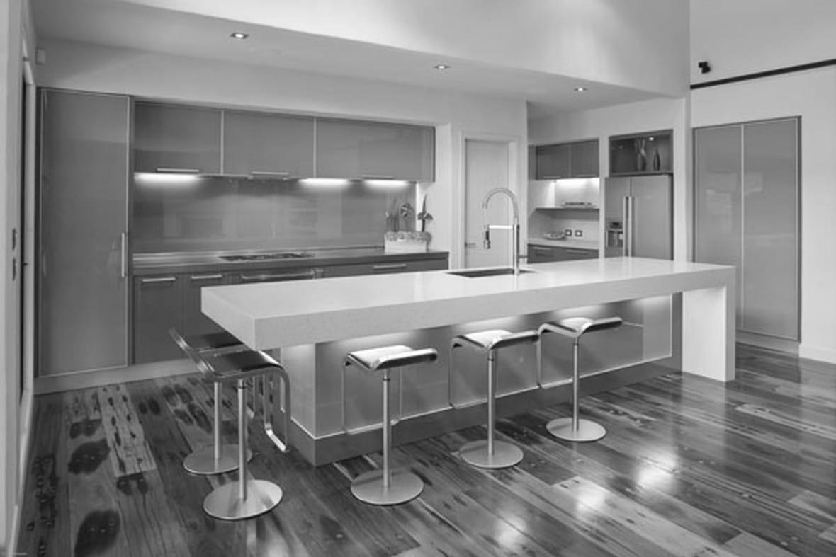 cocina de lujo moderna plata