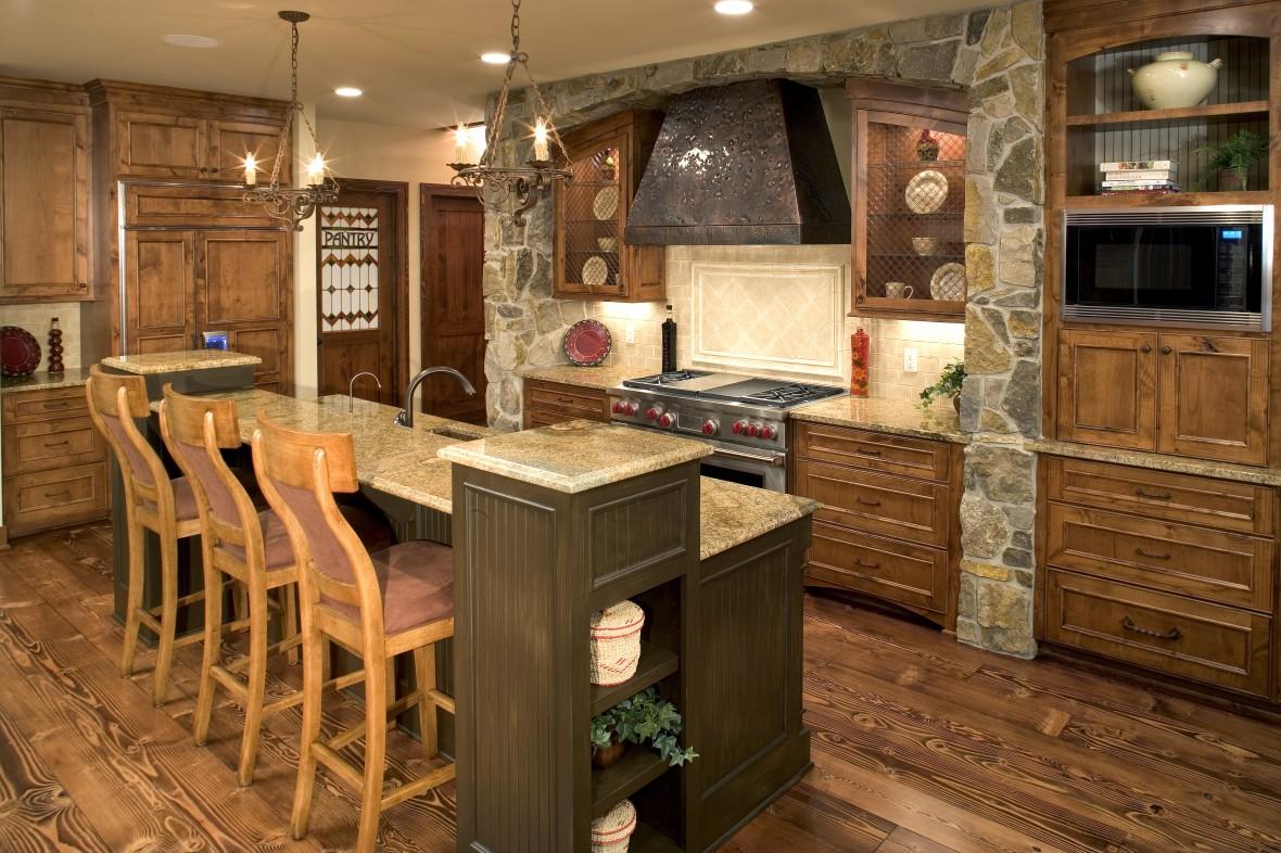cocina de lujo rustica con piedras