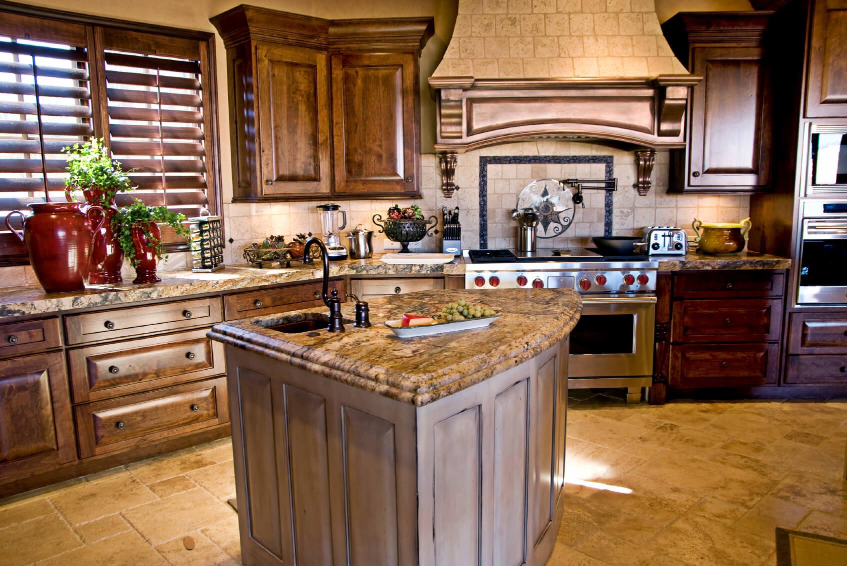 cocina de lujo rustica piedra
