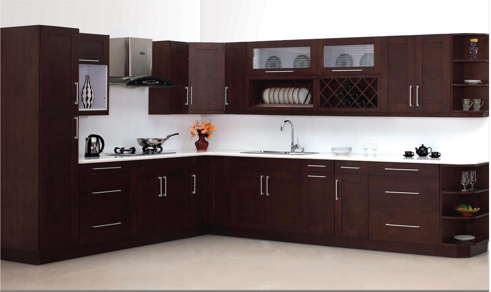 cocina grande en forma L marron oscuro