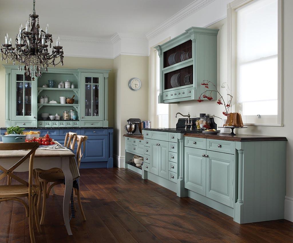 cocina vintage de lujo celeste