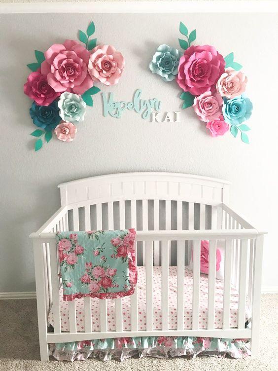 Flores Tridimensionales Para el Cuarto del Bebé