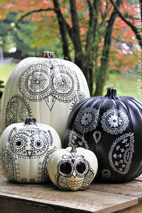 23 Calabzas de halloween dibujadas con marcador