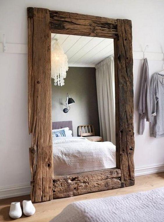 25 espejo madera antigua