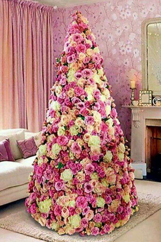 28 arbol de navidad con flores