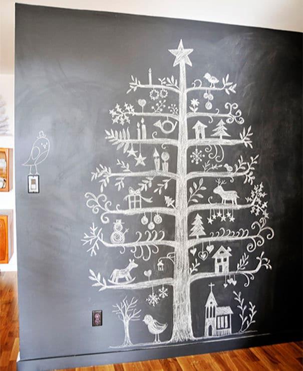 42 arbol de navidad pizarra y tiza