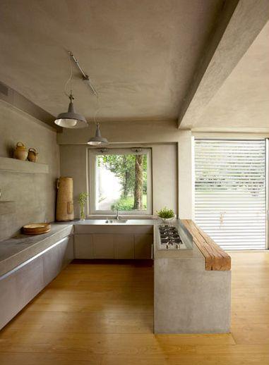 16 cocina en concreto con toque madera rústica