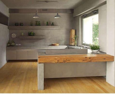 17 cocina en concreto con toque madera rústica2