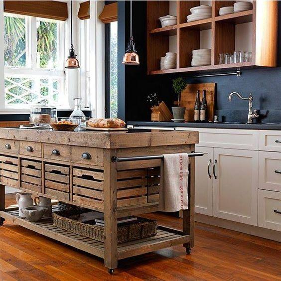 27 cajones en cocina rústica