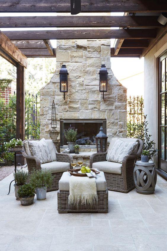 44 chimenea en patios exteriores