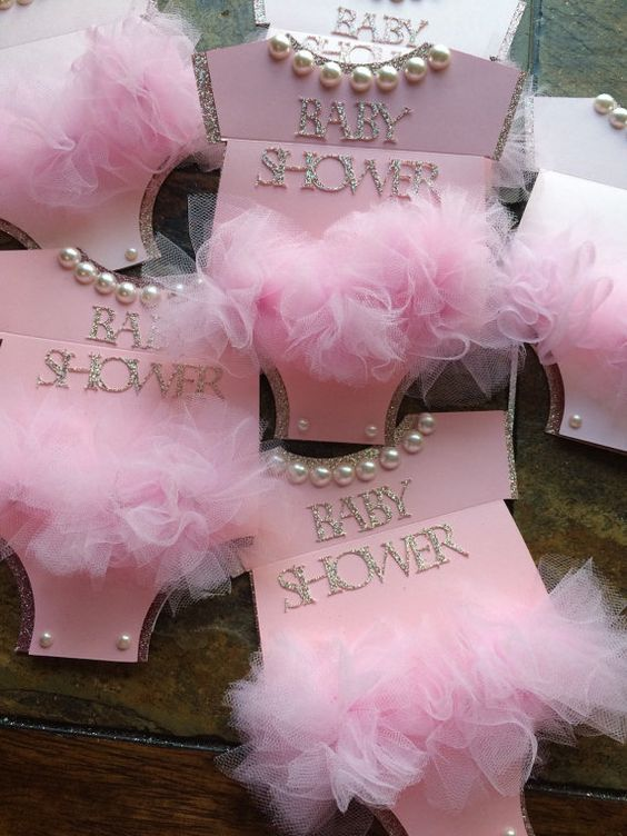 35 INVITACIONES BABY SHOWER CON TUL Y BRILLO