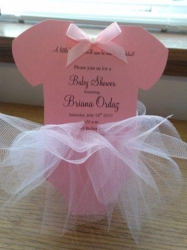 36 INVITACIONES BABY SHOWER CON TUL