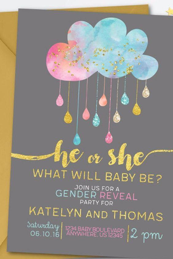 50 INVITACIONES BABY SHOWER REVELAR EL SEXO