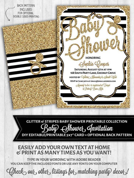 56 INVITACIONES BABY SHOWER GLAMOROSO
