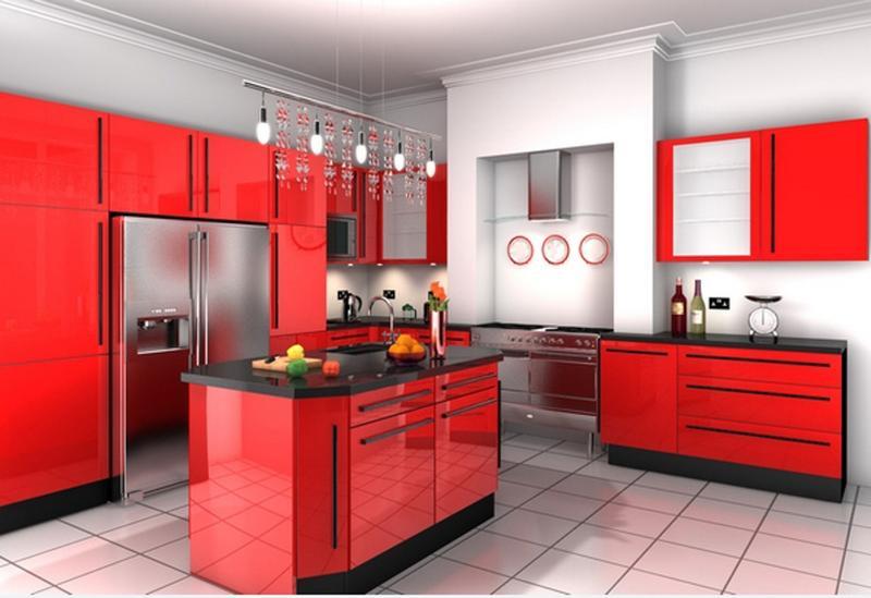 amplia cocina roja