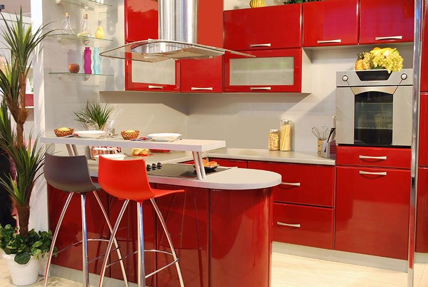 cocina color rojo vivo