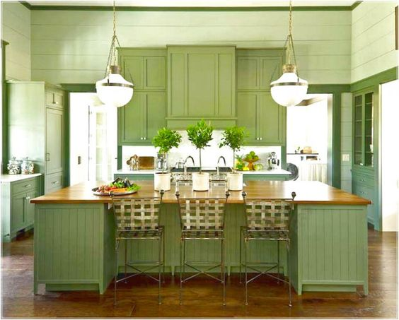 cocina color verde jardín