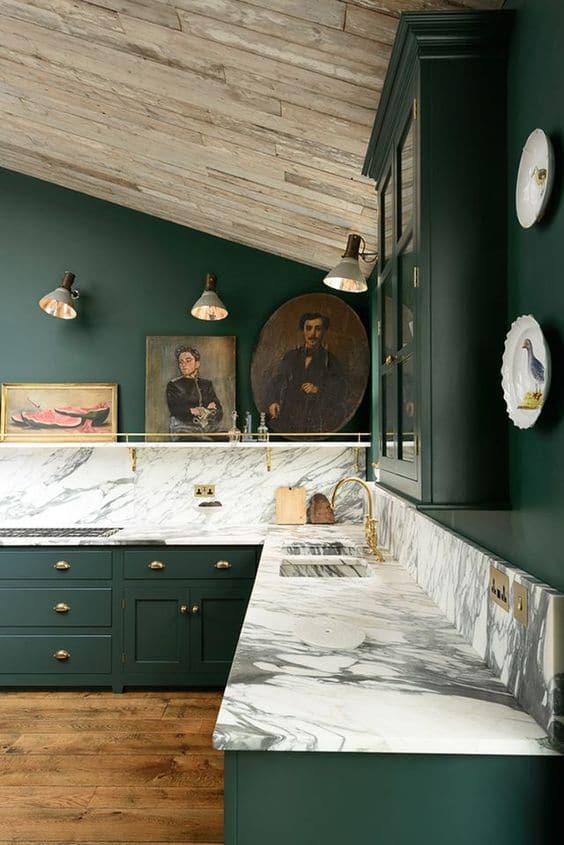 cocina color verde oscuro