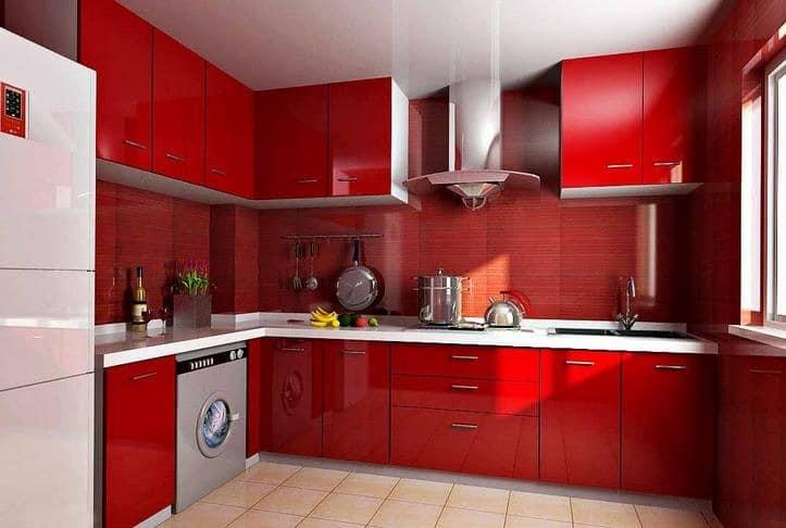 cocina completamente roja