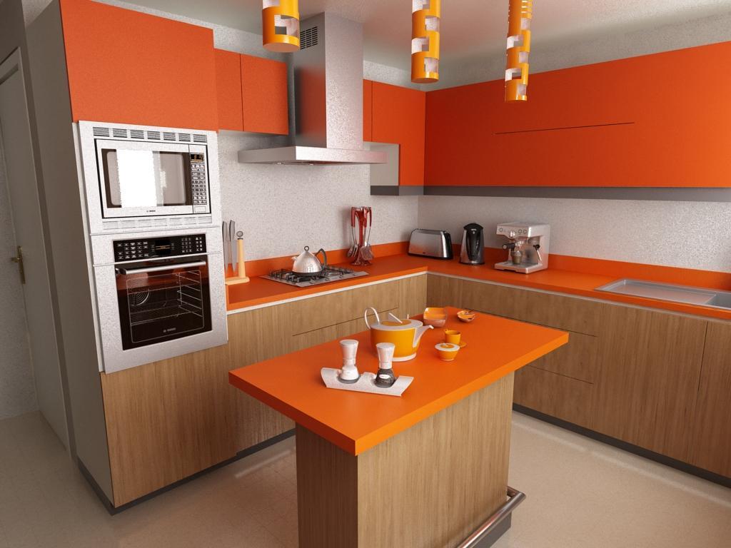 cocina con topes y gabinetes naranja