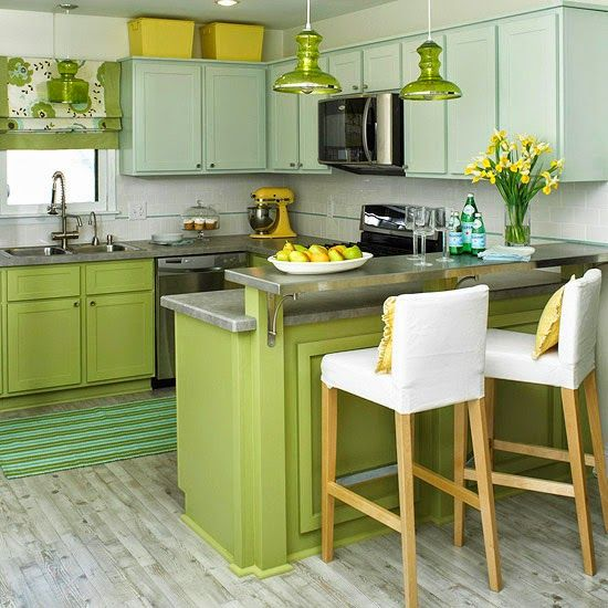 cocina con varios tonos de verde
