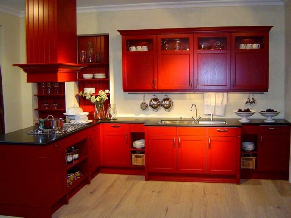 cocina de diseño clásico en rojo