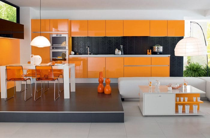 cocina elegante color naranja