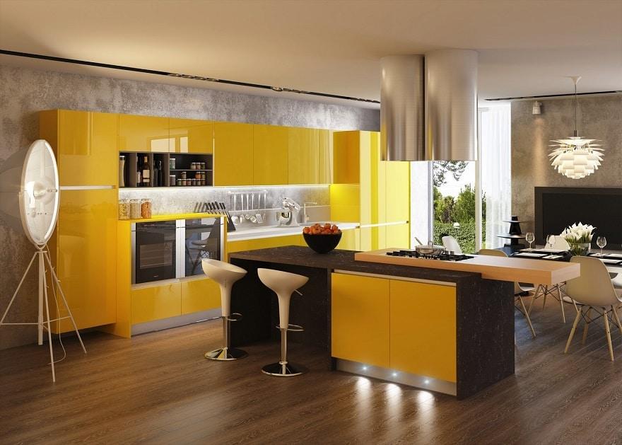 cocina moderna con detalles en amarillo