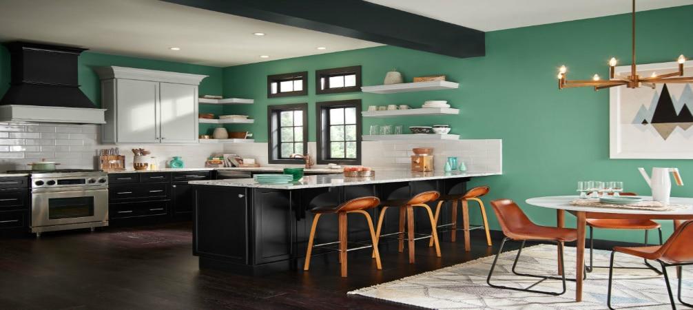 cocina pintada de verde
