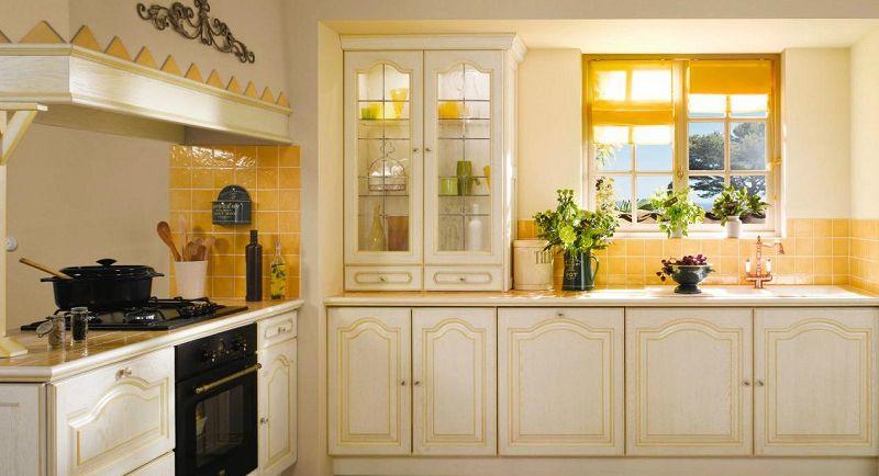 cocina rústica en color amarillo