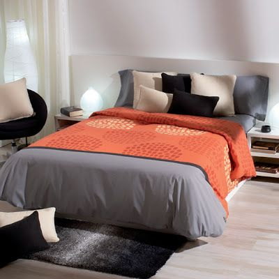 funda nórdica naranja y gris