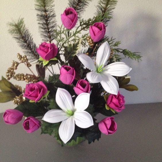 arreglos de flores goma eva