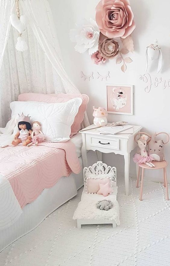 blanco dormitorio vintage de niña