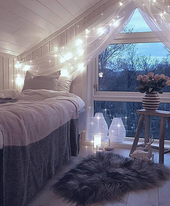 pequeño dormitorio vintage