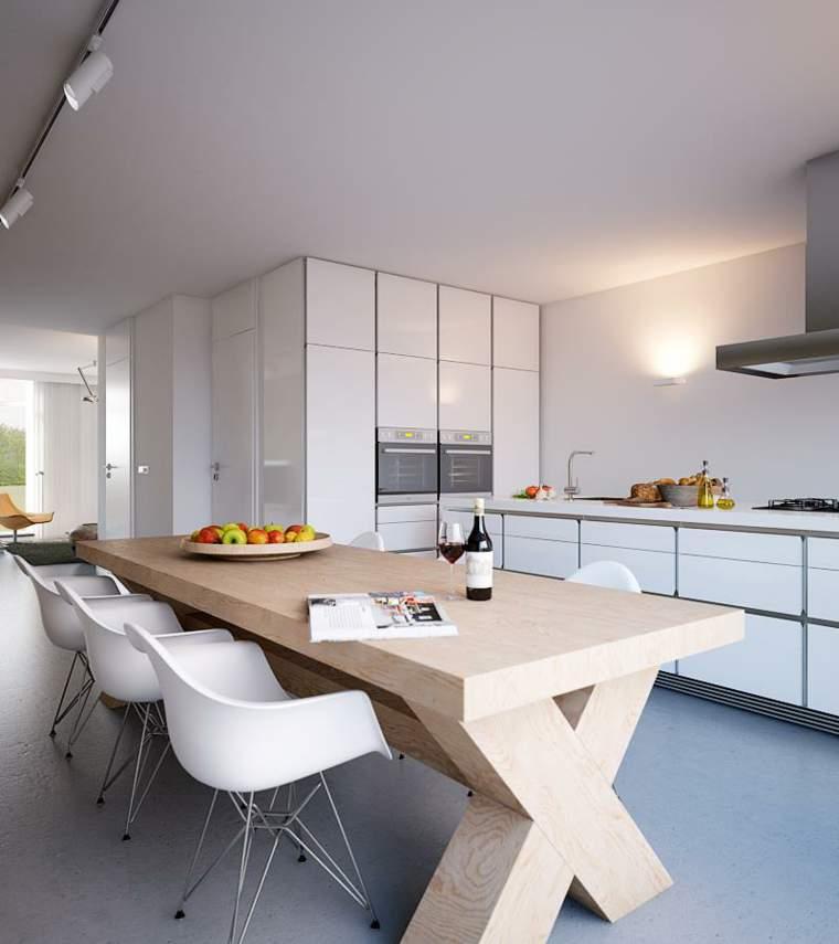 Las 30 cocinas blancas modernas que la van a petar el 2017 for Mesas de cocina blancas y madera