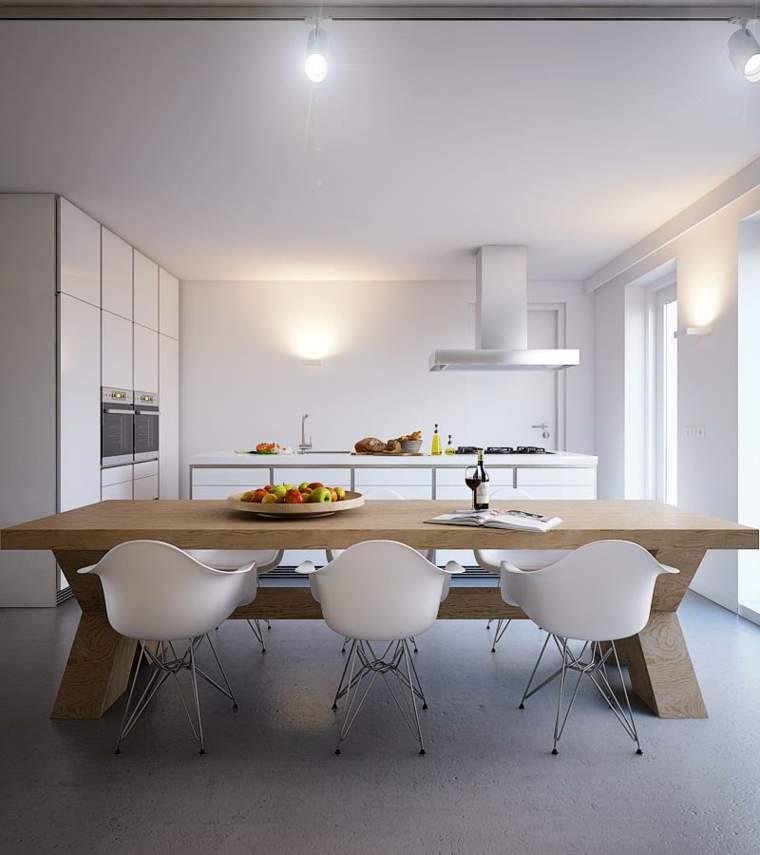 Cocina Blanca Mesa Madera ~ Gormondo.com = Inspirador y Elegante ...