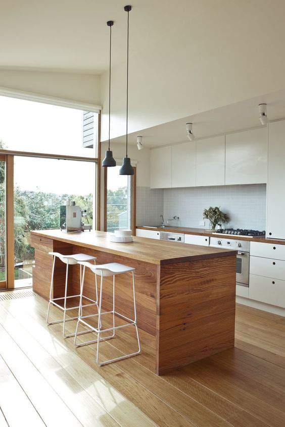 Las 30 cocinas blancas modernas que la van a petar el 2017 - Cocinas de madera modernas ...