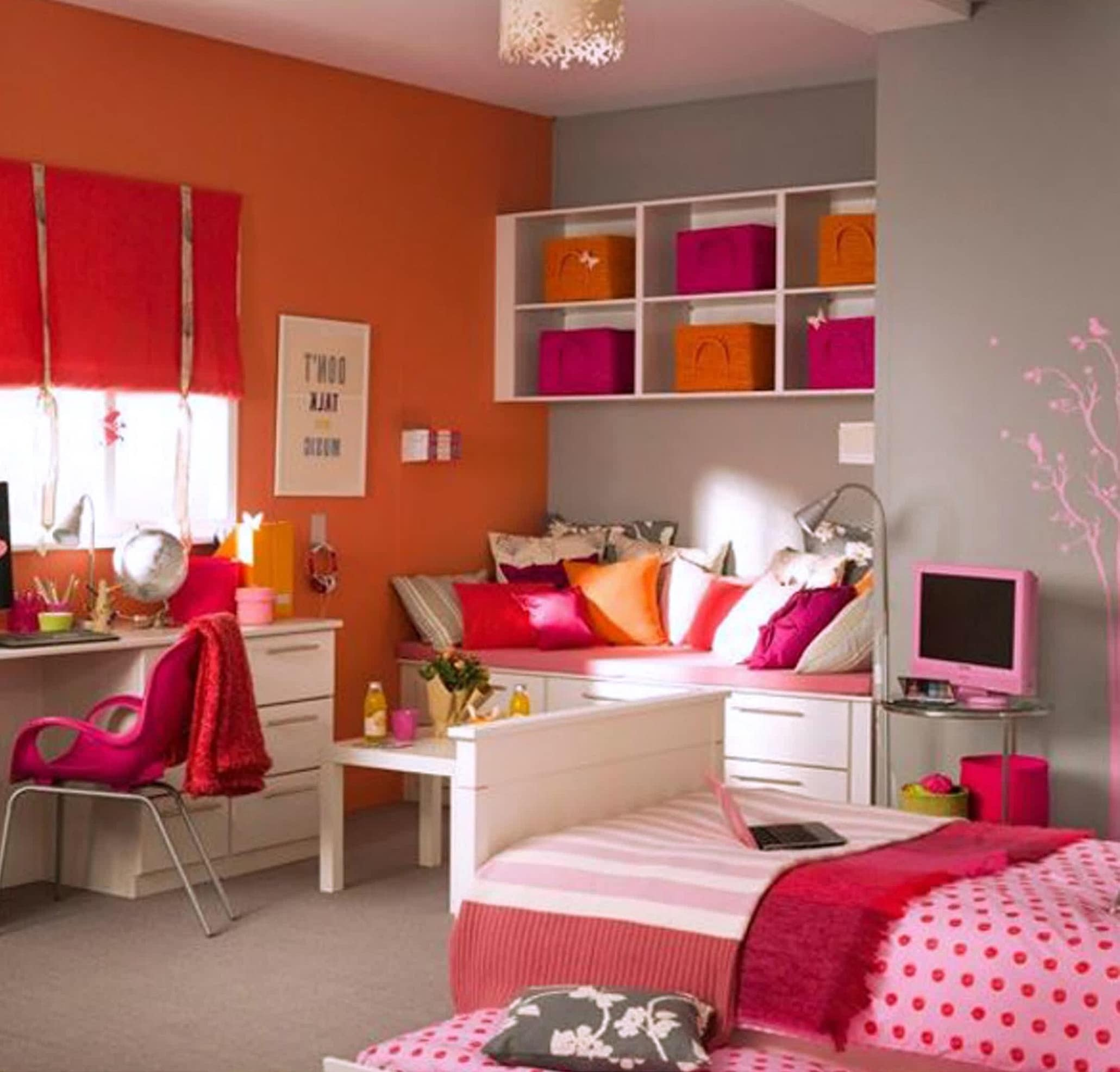 Girl Teen Room Rosa con Naranjo