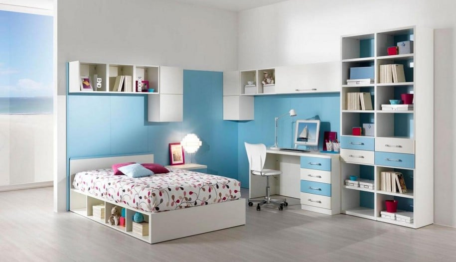 Girl Teen Room Celeste con Flores