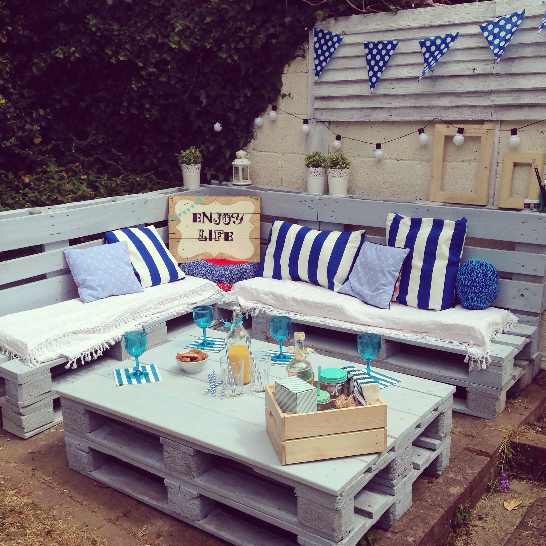 juego de terraza azul - Terraza Con Palets