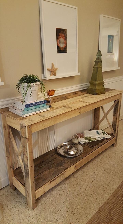 100 dise os de muebles con palets para interior y exterior - Mesas de recibidor ...