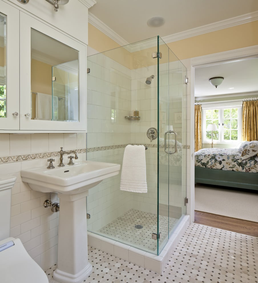 small white bathroom with shower