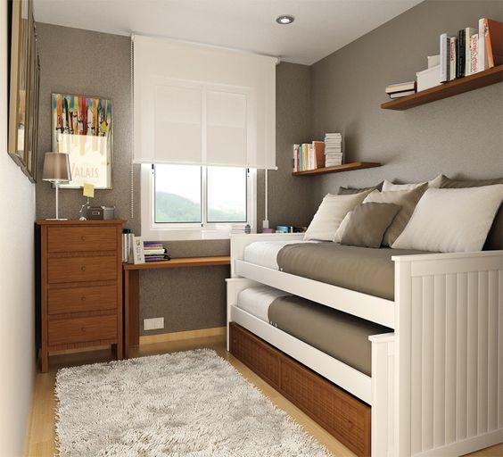 Las 15 mejor decoradas habitaciones juveniles peque as - Habitacion pequena dos camas ...
